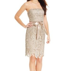 Adrianna Papell | strapless lace-overlay dress | 6